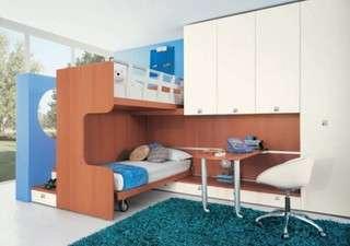 quarto azul projetado com beliche