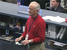 From Mission Control Center, NASA�s<br /> legendary flight director, Milt<br /> Heflin, receives well wishes from<br /> the Expedition 34 crew as he prepares<br /> for retirement<br /> Credit: NASA TV