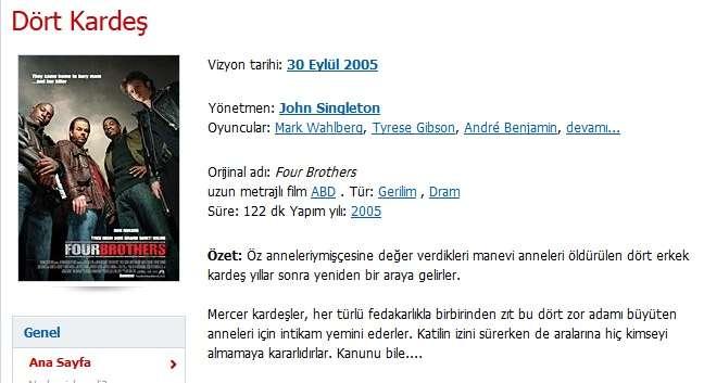 Dört Kardeş - 2005 Türkçe Dublaj 480p BRRip Tek Link indir